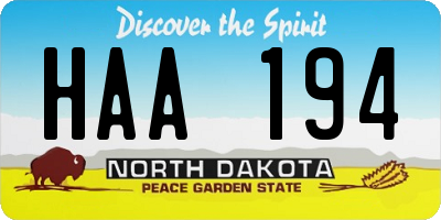 ND license plate HAA194