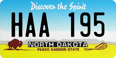 ND license plate HAA195