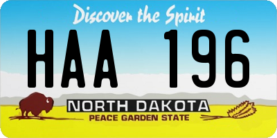 ND license plate HAA196
