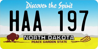 ND license plate HAA197