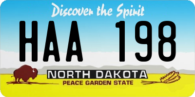 ND license plate HAA198