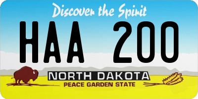 ND license plate HAA200