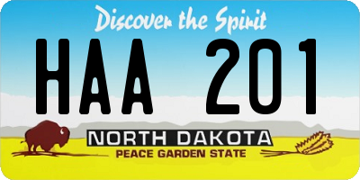 ND license plate HAA201