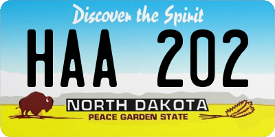 ND license plate HAA202