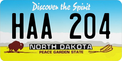 ND license plate HAA204
