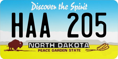 ND license plate HAA205