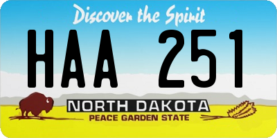 ND license plate HAA251