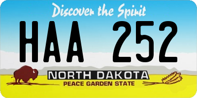 ND license plate HAA252