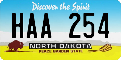 ND license plate HAA254