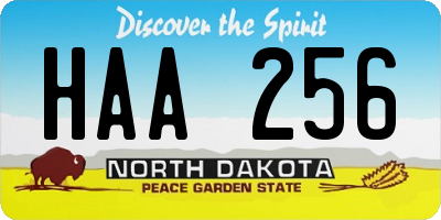 ND license plate HAA256