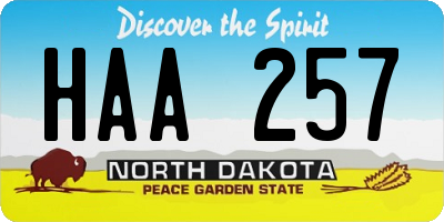 ND license plate HAA257