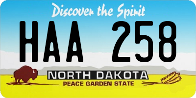 ND license plate HAA258