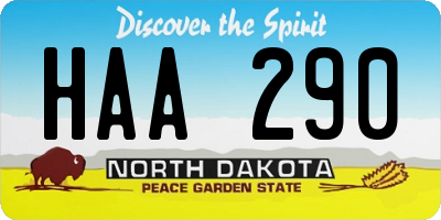 ND license plate HAA290