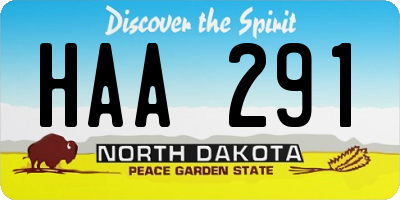 ND license plate HAA291