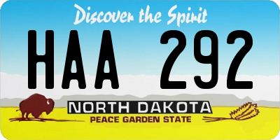 ND license plate HAA292