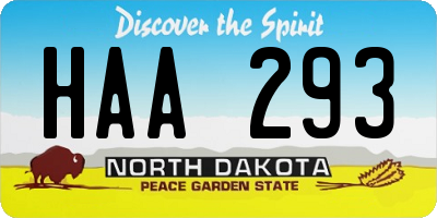 ND license plate HAA293