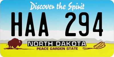 ND license plate HAA294