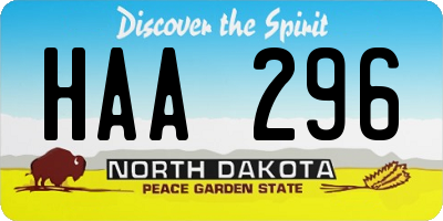 ND license plate HAA296