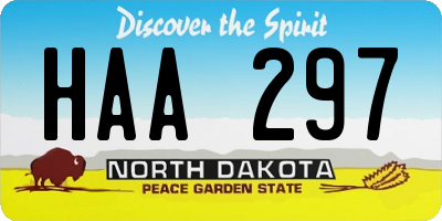 ND license plate HAA297