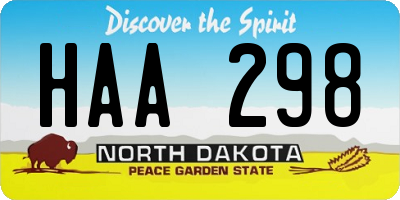 ND license plate HAA298