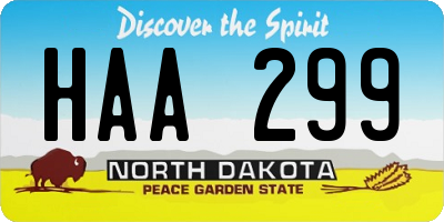 ND license plate HAA299