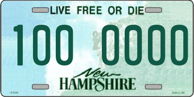 NH license plate 1000000