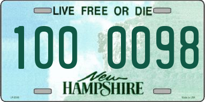 NH license plate 1000098