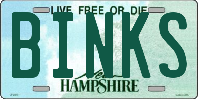 NH license plate BINKS