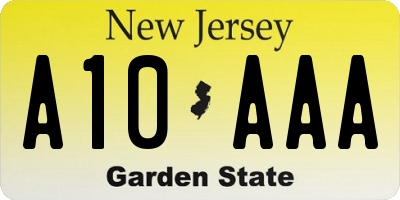 NJ license plate A10AAA