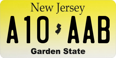 NJ license plate A10AAB