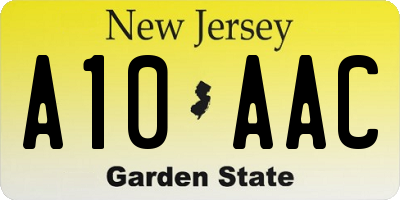 NJ license plate A10AAC