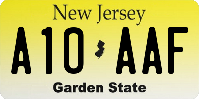 NJ license plate A10AAF