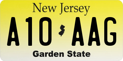 NJ license plate A10AAG