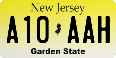 NJ license plate A10AAH