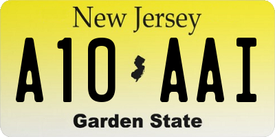 NJ license plate A10AAI