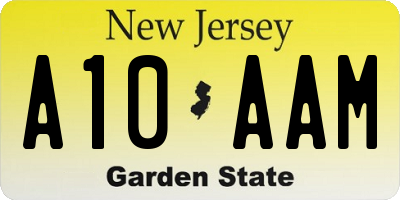 NJ license plate A10AAM