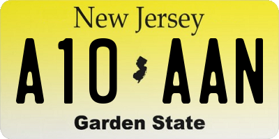NJ license plate A10AAN