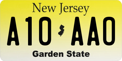 NJ license plate A10AAO