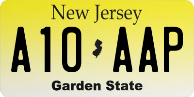 NJ license plate A10AAP