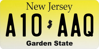 NJ license plate A10AAQ