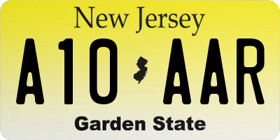 NJ license plate A10AAR