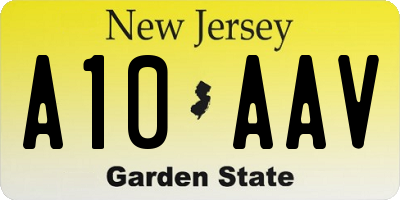 NJ license plate A10AAV
