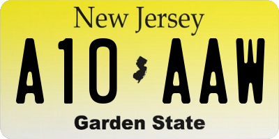 NJ license plate A10AAW