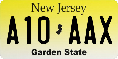 NJ license plate A10AAX