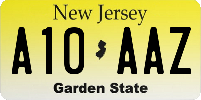 NJ license plate A10AAZ