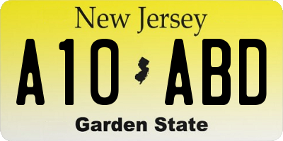 NJ license plate A10ABD