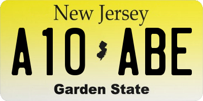 NJ license plate A10ABE