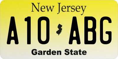 NJ license plate A10ABG