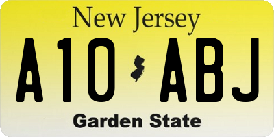 NJ license plate A10ABJ