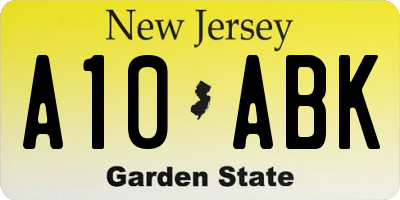 NJ license plate A10ABK